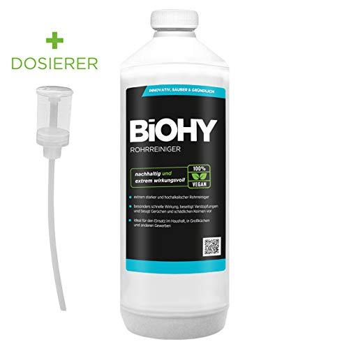 BIOHY Profi Rohrreiniger 1 Liter Flasche + Dosierer | Flüssiger, hochkonzentrierter Abflussreiniger | Geruchsneutral | Für alle Verstopfungen | EXTRA STARK