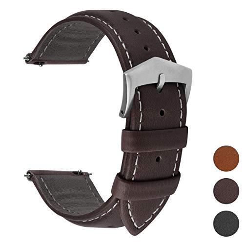 Fullmosa 3 Farben Uhrenarmband, Labu Semi Padded Greased Lederarmband, Ersatzarmband für Damen Herren, Kaffee+ Silber Schnalle 20mm