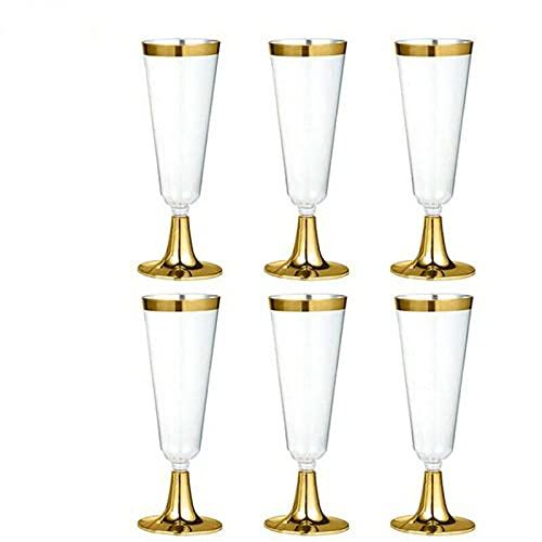 Verres à vin jetables,URMAGIC 6 paquets 150 ml Verres à Champagne jetables avec bord en or, flûtes à champagne en plastique or rose, tasses de fête/mariage transparentes réutilisables