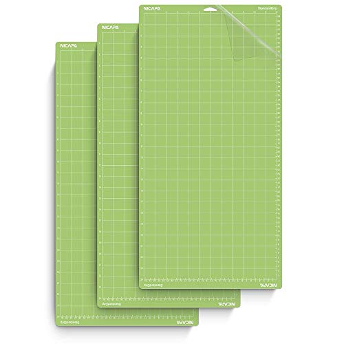 Nicapa StandardGrip Cutting Mat for Cricut Explore Air 2 Maker (12x24 inch,3 Mats) Standard Adhesive Sticky Green Cricket Cut Mats Replacement Quilting Sheet Accessories for Cricut