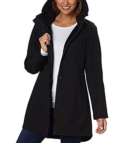 Kristen Blake Womens Detachable Hooded Tech Rain Jacket (Black, Small)