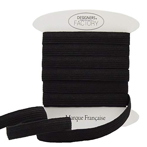 designers-factory Ruban élastique Noir côtelé, Largeur 1cm -Elastique Couture Noir (par 5 mètres)