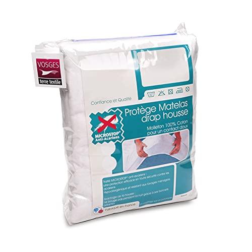 Antonin - Protector de colchón de 150 x 220 cm, muletón absorbente con tratamiento antiácaros, gorro de 40 cm