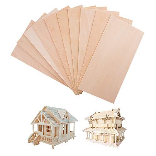 SAVITA 10 Stück 200x100x1,5mm Holzplatten, Unfertiges Balsaholz Dünne Sperrholzstücke für DIY-Gebäude Flugzeug Schiffsmodell, Bastelprojekt