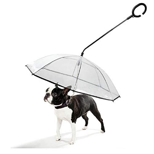 Koojawind Transparentes Haustier-Regenschirm C-FöRmiger Teleskopgriff Hundefreie Gehende Hundeleine, Haustierhunderegenschirm FüR Welpen Und Kleine GrößEn Haustier-Regenschutz Und Schneeschutz