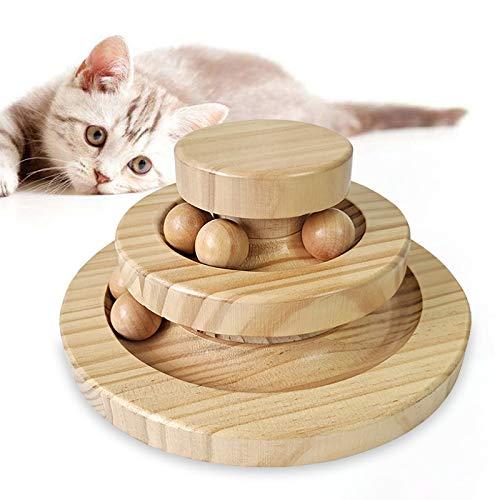 Emsmil Interaktiv Katzenspielzeug Holz 2 Level Towers Tracks Roller Bälle Intelligenz Interaktives Spielzeug Trainingsgerät zur Beschäftigung für die Katze