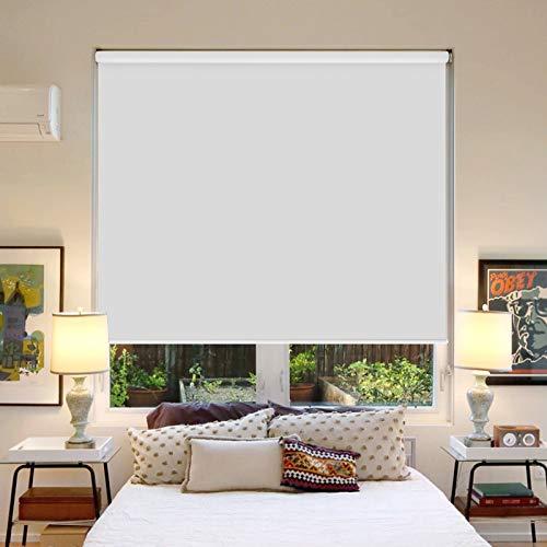 DESWIN rollos für fenster ohne bohren Klemmfix verdunklungsrollo mit Umweltfreundliches,125 x 160 cm, silberbeschichtetes Schattierungsgewebe für Fenster und Tür - schattiert, wärmeisolierend, verhindert effektiv Infrarotstrahlen - Weiss