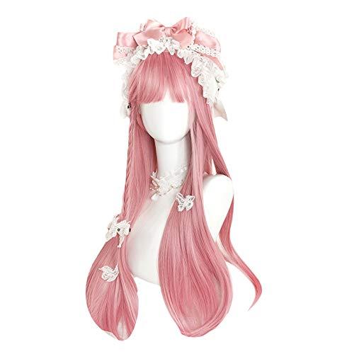 Peluca Larga, Recta Anime Cosplay Peluca con Flecos Fiesta Peluca Disfraz de Halloween Pelucas para Mujeres