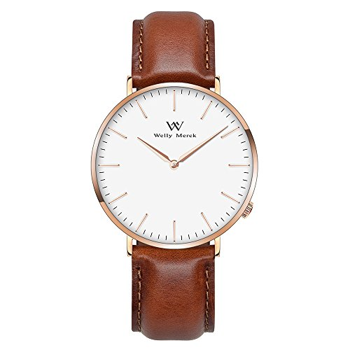 Welly Merck Herren Armbanduhr Schweizer Uhrwerk Saphirglas Luxus Minimalistische ultra dünne 20mm Braun Leder Armbänder Golden Hände 42mm Zifferblatt 50M wasserdicht