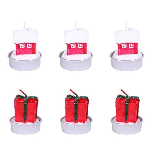 Amosfun Nochebuena decoración Dibujos Animados candelita Velas té de Navidad Suministros de luz para Dormitorio hogar (Caja de Regalo y casa) 6 Piezas
