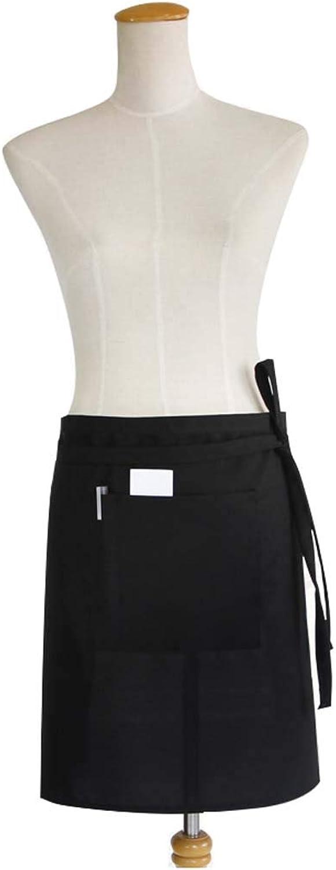 HUIFEI Halblange Schürze Wasserdicht Aus Reinem Schwarzen Polyester-Baumwolle Mit Verstellbarem Kopfbezug (Farbe   SCHWARZ, größe   48  75cm) B07MDN8XQM | Hohe Qualität und geringer Aufwand
