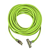 USW 12/3 Cold Weather Tri-tap Lighted Extension Cord, 100 ft, Safety Green