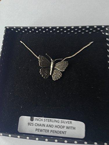 Colgante de mariposa pequeño C2 de plata de ley 925, hecho a mano, cadena de 45,7 cm con caja de regalo