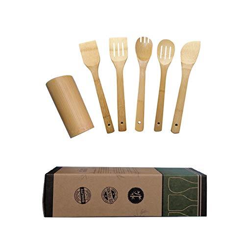 PowerBH Praktische tragbare Küche Kochzubehör Holzlöffel Rühren Spatel Kochwerkzeug