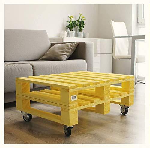 Mesa de palets de madera pintada en color Amarillo, Perfecta como mesa de salon para cafe, Mesa para Balcon & Patio & Jardin & Sofa & chaise longue