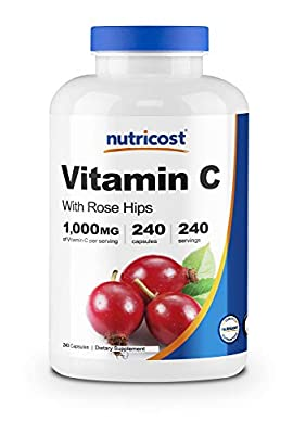 Nutricost Vitamin C with Rose Hips 1025mg, 240 Capsules - Vitamin C 1,000mg, Rose Hips 25mg, Premium, Non-GMO, Gluten Free Supplement