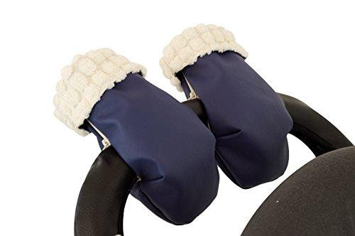 Manoplas guantes para carrito silla de bebé pelo extra-suave y ecopiel. Azul marino