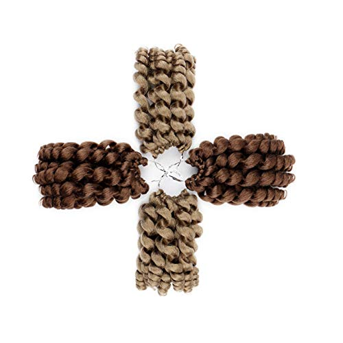 Blondwigs #Brown Color WandCurly Hair Crochet Havana Mambo Twist Synthetic Braiding Hair Piece 10Inch 20 Roots/Pack 5Packs/Lot