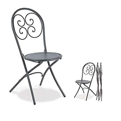 EMU Lot de 4 chaises pliantes pour usage extérieur, modèle Pigalle 924, couleur fer antique galvanisé et verni à la poudre pour résister aux intempéries, fabriqué en Italie