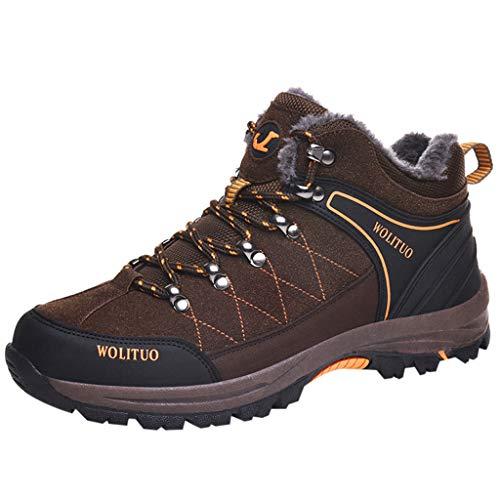 HDUFGJ Herren rutschfeste Verschleißfest Trekking-& Wanderhalbschuhe Fügen Sie Baumwolle hinzu Warm halten Bequem Outdoor-Schuhe ReiseschuheWasserdicht Atmungsaktiv Laufschuhe45(Kaffee)