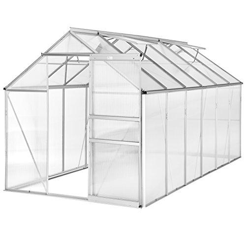 TecTake Invernadero de jardín policarbonato transparente aluminio casero plantas cultivos 375x185x195cm - varios modelos - (375x185x195 cm | no. 402479)