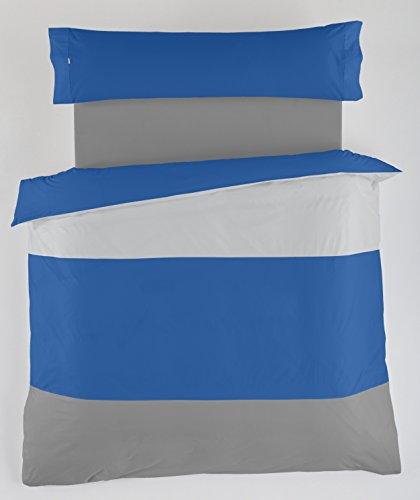 ESTELA - Juego de Funda nórdica Lisos Tricolor - Colores: Perla-Azulón-Plomo (3 Piezas) - Cama de 105 cm. - 50% Algodón /...
