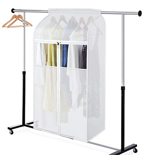 Zilink Hanging Garment Bags for Storage 43 inch Dust-Proof Large Garment Rack Cover Suit Bags Organizer Hanging Clothes Cover for Suit Coats Jackets Dress Closet Storage