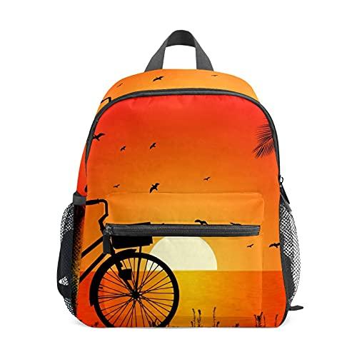 Riverside Bike Sunset Fahrradrucksack für Mädchen Jungen Kinder Mini Reise Daypack Grundschule Schüler Büchertasche Kleine Schultasche