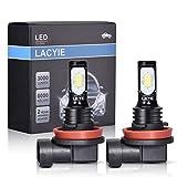 Lacyie Ampoule LED pour Voiture, IP68 étanche Ampoule de Brouillard, Super Brillante 3000LM 6000 K Blanc Froid Lumière(2Pcs) (H8/H9/H11)
