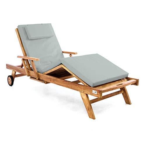 Nexos Trading Divero Sonnenliege Holzliege Gartenliege Teak-Holz behandelt mehrfach verstellbar inkl. Räder Tablett + Liegen-Auflage 4-teilig wasserabweisend hellgrau