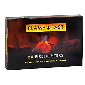 Flamefast – Bloques de iniciación para encendedores, arranque rápido, barbacoa ecológica, quemador de leña, fuego abierto, 1 paquete de 24