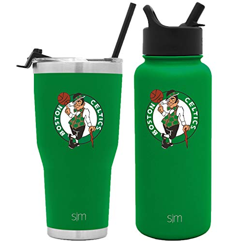 Simple Modern NBA Licensed Bundle - 30oz Cruiser Tumbler with Straw and 32oz Summit with Straw Lid Boston Celtics