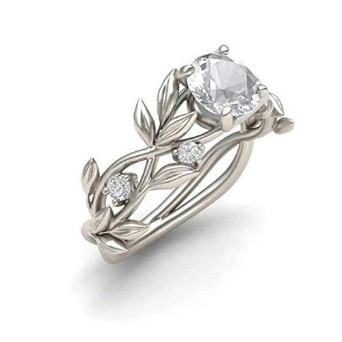 LXT Anello Anello da Sposa in Cristallo Color Argento con Anello in Rattan Design cubo di Fidanzamento Anello Moda Gioielli per Regalo da Donna