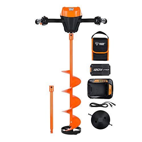 Trophy Strike 107387 120V Li-Ion Cordless Ice Auger Drill Kit - 8' Cutting Diameter 31.5' Depth