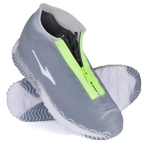 JUDA Wasserdicht Schuhüberzieher, Wiederverwendbare rutschfeste Überschuhe, Für Regen, Schneetag, Wüstenstrand, Schlammige Straßen (XL (43-47), Transparente)