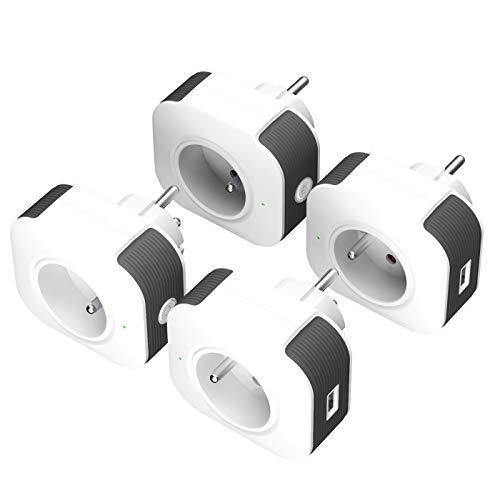 Prise Connectée, Prise Intelligente WiFi (FR) USB Port Contrôle Vocale Compatible avec Android iOS Amazon Alexa Google Home IFTTT Prise Programmable Télécommande App Prise Courant Timer Aucun Lot de 4