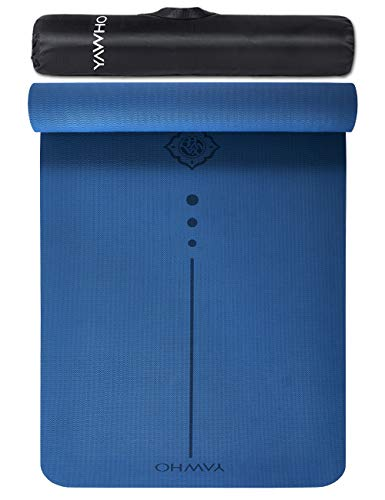 Yoga Mat Fitness Mat Eco Friendly Material SGS Certified Ingredients TPE Specifications 72'' x 26'' Thickness 1/4-Inch Non-Slip Extra Large Exercise Mat with Carry Strap and Carry Bag (Blue)