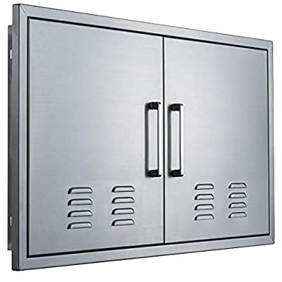 """yuxiangBBQ Outdoor Kitchen Doors Stainless Steel,36"""" Double Access Door Vented,Flush Mount for Outdoor Kitchen and BBQ Island"""