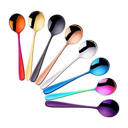 tableware-GQ Juego de 8 cucharaditas de 8 cucharas de café/cucharas de Postre 5 5 Pulgadas / 14 cm (en Color) @ cucharas de Sopa_7 Pulgadas / 17.5 cm