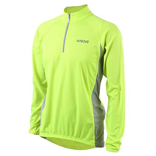 Proviz Mens Reflective Classic CyclingRunning Long Sleeve Top T Shirt Hi Visibility Yellow XXL