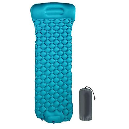 Alfombrilla autohinchable, impermeable, plegable, con bomba de pie, color azul