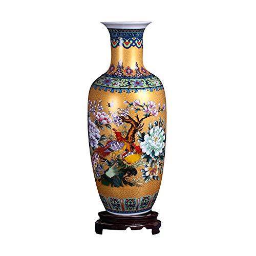 """ufengke Jingdezhen Große Keramik Bodenvase,Blumenvase,Handgefertigte Dekorative Vase für Hause,Höhe 18.11\""""(46cm),Golden"""