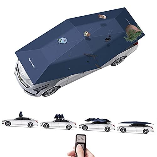 FANGX Paraguas De Coche Totalmente Automática con Mando a Distancia,Car Tent Portátil,Carpa De Paraguas para Automóvil Que Mantiene Su Vehículo Fresco,Adecuado para Vehículos De Más De 4,8M,Blue-4.2m