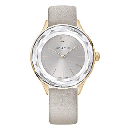 Swarovski Reloj Octea Nova, Correa de piel, gris, PVD en tono Oro Rosa