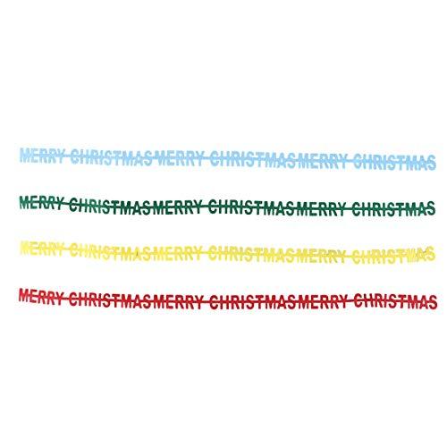 Amosfun 4 stks Vrolijk Kerstmis Banners Stof Letter slingers Kerstboom slinger Xmas Opknoping Decoratie Vakantie benodigdheden (Geel Rood Groen Blauw)