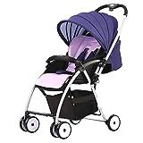 NLRHH Carro de bebé Plegable, cochecitos Convertibles compactos, arnés de 5 Puntos y Canasta de Alto Almacenamiento para Viajar, Compras, Caminar (Color: púrpura) Peng (Color : Purple)