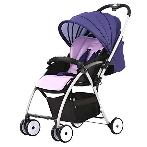 AYDQC Carro de bebé Plegable, cochecitos Convertibles compactos, arnés de 5 Puntos y Canasta de Alto Almacenamiento para Viajar, Compras, Caminar (Color: púrpura) fengong (Color : Purple)