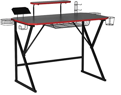 AmazonBasics Gaming Computer Desk with Storage for Controller, Headphone & Speaker - Red