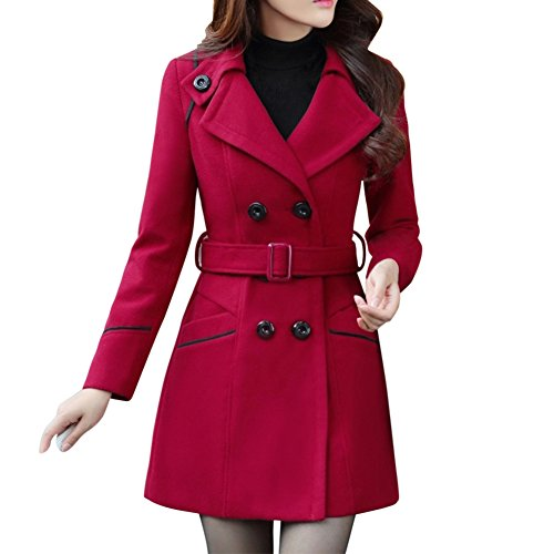 LAEMILIA Damen Winter Mantel Klassischen Doppelten Breasted Trenchcoat Warm Schlank Vintage Jacke Windmantel Outwear (EU38=Tag XL, Weinrot)