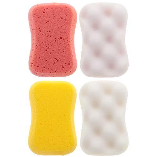 FRCOLOR Weicher Badeschwamm Sanfter Beruhigender Körperschwamm Naturfaser-Peeling-Duschschwamm für Frauen Männer Kinder 4 Stück Zufällige Farbe